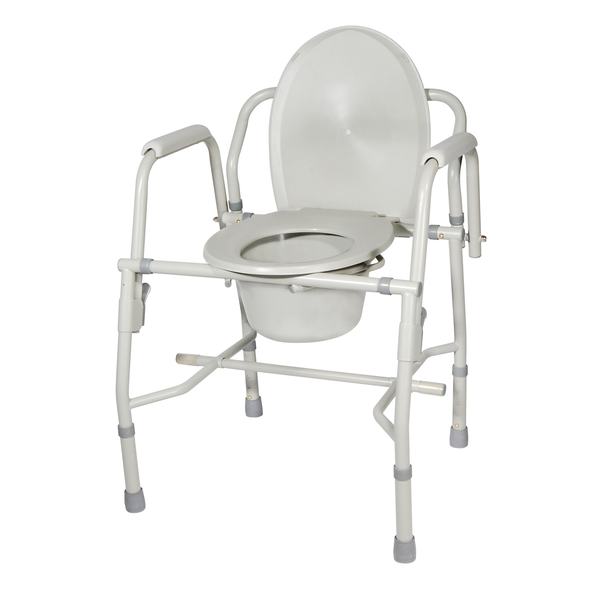 Drive Medical Steel Drop Arm Bedside Commode with Padded Arms