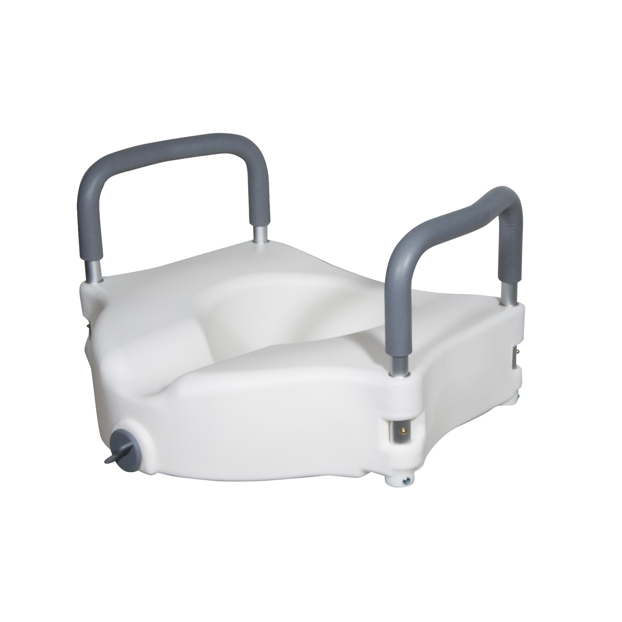 Drive Medical Elevated Raised Toilet Seat with Removable Padded Arms, Standard Seat