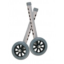 """Drive Medical Walker Wheels with Two Sets of Rear Glides, for Use with Universal Walker, 5"""", Gray, 1 Pair"""