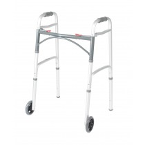 """Drive Medical Deluxe Two Button Folding Walker with 5"""" Wheels"""