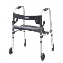 Drive Medical Clever Lite LS Walker Rollator with Seat and Push Down Brakes
