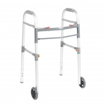 """Drive Medical Two Button Folding Universal Walker with 5"""" Wheels"""