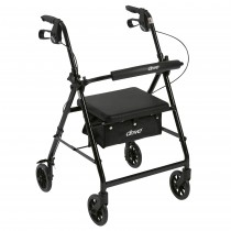"""Drive Medical Walker Rollator with 6"""" Wheels, Fold Up Removable Back Support, and Padded Seat"""
