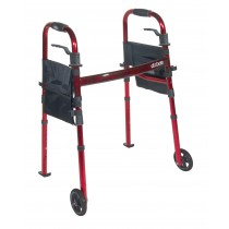 """Drive Medical Portable Folding Travel Walker with 5"""" Wheels and Fold up Legs"""