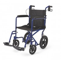 "Medline Aluminum Transport Chair with 12"" Wheels,Blue,F: 8   R: 12"
