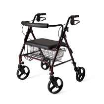 Medline Standard Bariatric Heavy Duty Rollator,Burgundy,8""
